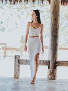 Shorts Saia Assimétrico Branco -1