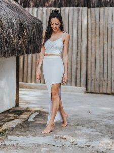 Shorts Saia Assimétrico Branco -2